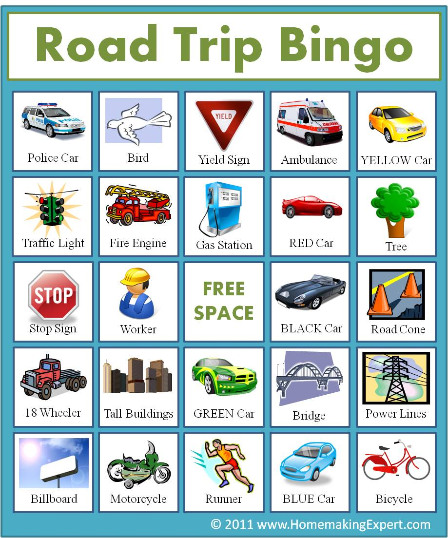 It is a photo of Universal Printable Travel Bingo